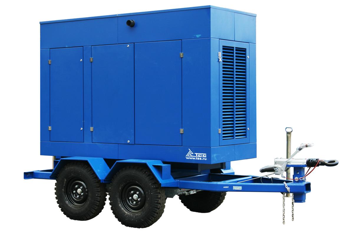 Дизельный генератор ТСС ЭД-300-Т400 в погодозащитном кожухе на прицепе